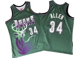 Mens Nba Milwaukee Bucks #34 Giannis Antetokounmpo Green Mitchell&ness Hardwood Classics Gold Patch Jersey