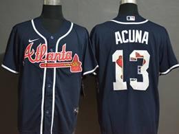 Mens Mlb Atlanta Braves #13 Ronald Acuna Jr. 2020 Blue Printing Cool Base Nike Jersey