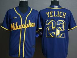 Mens Mlb Milwaukee Brewers #22 Christian Yelich 2020 Blue Printing Cool Base Nike Jersey