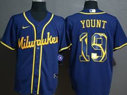 Mens Mlb Milwaukee Brewers #19 Robin Yount 2020 Blue Printing Cool Base Nike Jersey
