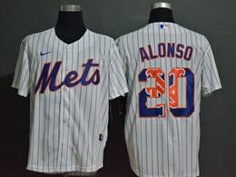 Mens Mlb New York Mets #20 Pete Alonso 2020 White Stripe Printing Cool Base Nike Jersey