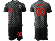 Mens Soccer Croatia National ( Custom Made ) Black 2020 European Cup Away Short Sleeve Suit Jersey