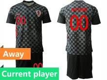 Mens Kids Soccer Croatia National Current Player Black 2020 European Cup Away Short Sleeve Suit Jersey