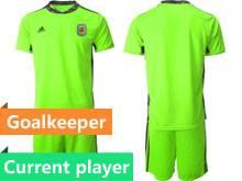 Mens 20-21 Soccer Argentina National Team Current Player Fluorescence Green Goalkeeper Short Sleeve Suit Jersey