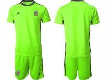 Mens 20-21 Soccer Argentina National Team ( Custom Made ) Fluorescence Green Goalkeeper Short Sleeve Suit Jersey