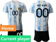 Mens 20-21 Soccer Argentina National Team Current Player White Home Short Sleeve Suit Jersey