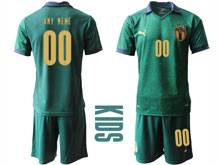 Kids Soccer Italy National Team ( Custom Made ) Green 2020 European Cup Second Away Short Sleeve Suit Jersey