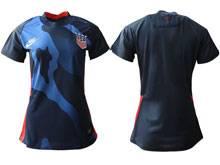 Women 20-21 Soccer Usa National Team ( Custom Made ) Blue Away Thailand Short Sleeve Jersey