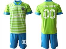 Mens 20-21 Soccer Seattle Sounders Club ( Custom Made ) Green Home Short Sleeve Suit Jersey