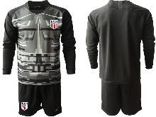 Mens 20-21 Soccer Usa National Team ( Custom Made ) Black Goalkeeper Long Sleeve Suit Jersey