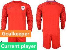 Mens 20-21 Soccer Usa National Team Current Player Red Goalkeeper Long Sleeve Suit Jersey