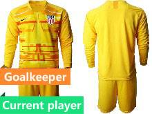 Mens 20-21 Soccer Usa National Team Current Player Yellow Goalkeeper Long Sleeve Suit Jersey