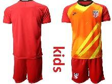 Kids 20-21 Soccer Usa National Team ( Custom Made ) Red Goalkeeper Short Sleeve Suit Jersey