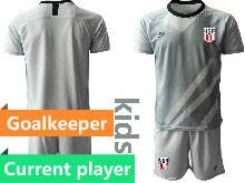 Kids 20-21 Soccer Usa National Team Current Player Gray Goalkeeper Short Sleeve Suit Jersey