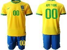 Mens Kids 20-21 Soccer Brazil National Team Custom Made Yellow Home Short Sleeve Suit Jersey