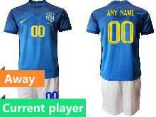 Mens Kids 20-21 Soccer Brazil National Team Current Player Blue Away Short Sleeve Suit Jersey