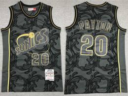 Mens Nba Seattle Supersonics #20 Gary Payton Black 1995-96 Mitchell&ness Swingman Hardwood Classics Jersey
