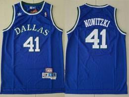 Mens Nba Dallas Mavericks #41 Dirk Nowitzki Blue Adidas Swingman Hardwood Classics Jersey