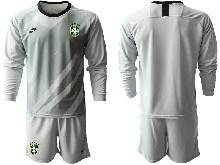 Mens 20-21 Soccer Brazil National Team ( Custom Made ) Gray Goalkeeper Long Sleeve Suit Jersey