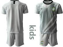 Kids 20-21 Soccer Brazil National Team ( Custom Made ) Gray Goalkeeper Short Sleeve Suit Jersey