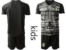 Kids 20-21 Soccer Brazil National Team ( Custom Made ) Black Goalkeeper Short Sleeve Suit Jersey
