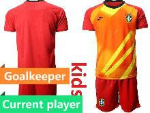 Kids 20-21 Soccer Brazil National Team Current Player Red Goalkeeper Short Sleeve Suit Jersey