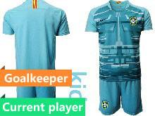 Kids 20-21 Soccer Brazil National Team Current Player Blue Goalkeeper Short Sleeve Suit Jersey