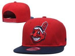 Mens Mlb Cleveland Indians Black And Red Snapback Adjustable Flat Hats 2 Color