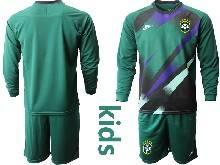 Kids 20-21 Soccer Brazil National Team ( Custom Made ) Dark Green Goalkeeper Long Sleeve Suit Jersey