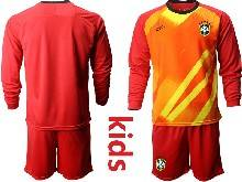 Kids 20-21 Soccer Brazil National Team ( Custom Made ) Red Goalkeeper Long Sleeve Suit Jersey