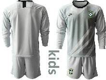 Kids 20-21 Soccer Brazil National Team ( Custom Made ) Gray Goalkeeper Long Sleeve Suit Jersey