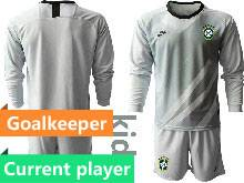 Kids 20-21 Soccer Brazil National Team Current Player Gray Goalkeeper Long Sleeve Suit Jersey