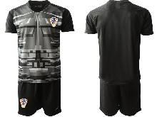 Mens Soccer Croatia National ( Custom Made ) Black 2020 European Cup Goalkeeper Short Sleeve Suit Jersey