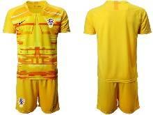Mens Soccer Croatia National ( Custom Made ) Yellow 2020 European Cup Goalkeeper Short Sleeve Suit Jersey