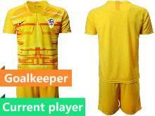 Mens Kids Soccer Croatia National Current Player Yellow 2020 European Cup Goalkeeper Short Sleeve Suit Jersey