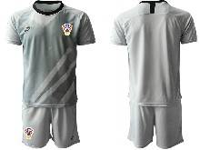 Mens Soccer Croatia National ( Custom Made ) Gray 2020 European Cup Goalkeeper Short Sleeve Suit Jersey