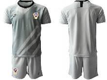 Mens Kids Soccer Croatia National ( Custom Made ) Gray 2020 European Cup Goalkeeper Short Sleeve Suit Jersey