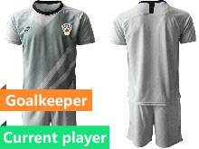 Mens Kids Soccer Croatia National Current Player Gray 2020 European Cup Goalkeeper Short Sleeve Suit Jersey