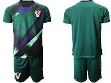 Mens Soccer Croatia National ( Custom Made ) Dark Green 2020 European Cup Goalkeeper Short Sleeve Suit Jersey