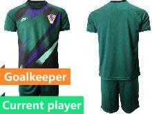 Mens Soccer Croatia National Current Player Dark Green 2020 European Cup Goalkeeper Short Sleeve Suit Jersey
