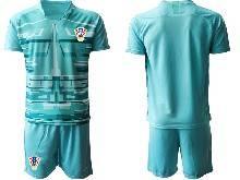 Mens Soccer Croatia National ( Custom Made ) Blue 2020 European Cup Goalkeeper Short Sleeve Suit Jersey