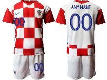 Mens Kids Soccer Croatia National ( Custom Made ) Red And White 2020 European Cup Home Short Sleeve Suit Jersey