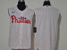 Mens Mlb Philadephia Phillies Blank White 2020 Refreshing Sleeveless Fan Cool Base Nike Jersey