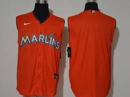 Mens Mlb Miami Marlins Blank Orange 2020 Refreshing Sleeveless Fan Cool Base Nike Jersey