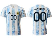 Mens 20-21 Soccer Argentina National Team ( Custom Made ) White Home Thailand Short Sleeve Jersey