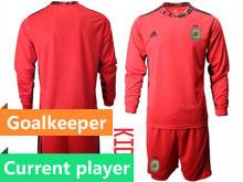 Kids 20-21 Soccer Argentina National Team Current Player Red Goalkeeper Long Sleeve Suit Jersey