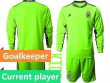 Kids 20-21 Soccer Argentina National Team Current Player Green Goalkeeper Long Sleeve Suit Jersey