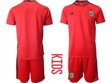 Kids 20-21 Soccer Argentina National Team ( Custom Made ) Red Goalkeeper Short Sleeve Suit Jersey