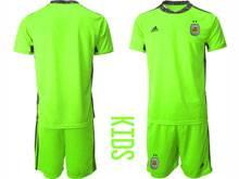 Kids 20-21 Soccer Argentina National Team ( Custom Made ) Green Goalkeeper Short Sleeve Suit Jersey