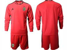 Mens 20-21 Soccer Argentina National Team ( Custom Made ) Red Goalkeeper Long Sleeve Suit Jersey